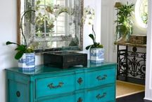 Turquoise coloured drawers