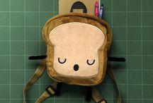 Mr. Little Bread Slice Backpack / 20x20x8cm Backpack