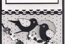 Black and white card with birds