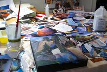 Scenes from the studio of Janice McDonald / Collage making in progress...
