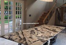 หิน Alpine white 'Exotic stone' ติดตั้งท็อปโต๊ะ