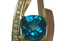 Beautiful Gold Pendants / Custom designed, unique 14K gold Diamond and Gemstone pendants