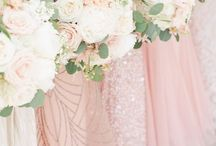 Green, pink and ivory wedding