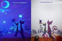 флуоресц краска на стенах