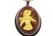 Hand Carved Zodiac Sign Amber Cameo Pendants / Check out Hand Carved #Cameos with a Zodiac.