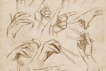 desenho de mãos e pés