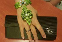 pulseras de tela hecha flor