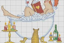 Cross stitch - bathrooms