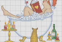Cross stitch - bathrooms