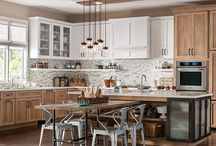 Dalton Quartersawn Oak / Schuler Cabinetry Dalton quartersawn oak Cappuccino and Cottage White Sheer