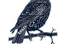 Lino cut birds