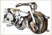Watch Motorbikes / Steampunk miniature motorbike, motocycle made of watch elements.  Sold