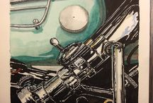 THUNDERBIRD 6T / MOTO/Triumph 6t THUNDERBIRD /ETUDE ACRYLIQUE SUR PAPIER/