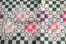 bordados em panos xadrez