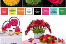 Flower Trends: Kaleidoscope 2015 / The expressive, creative bride will radiate toward the Kaleidoscope trend with its bright colors and bold prints.  Kaleidoscope colors and shapes are dynamic; bright orange, coral red, hot pink and turquoise.  Flowers are bright blossoms of gerrondo gerbera daisies, roses, dahlias and ranunculus in radiant colors.