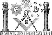 Masonic Art (B&W - 2 Pillars) / Masonic Artworks (B&W Graphics - Two Pillars)