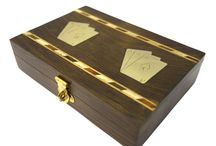 Timber-Treasures twin deck card box / These card boxes are perfect for storing your favourite deck when not in use in your preferred card games.  Each box is crafted from Indian rosewood and decorated with inlaid brass in the style of an Ace of Diamonds playing card. Each box also has brass hinges and locking clasp. Each box can hold two decks of playing cards.  Please note that these boxes do not include playing cards. External dimensions - 16.5 x 11.5 x 4 cms* Twin compartment dimensions - 9 x 6.5 x 2.5 cms* *handmade disclaimer