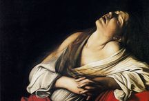 Caravaggio (1571 – 1610) / Michelangelo Merisi o Amerighi da Caravaggio (1571 – 1610) was an Italian artist active in Rome, Naples, Malta, and Sicily between 1592 (1595?) and 1610. His paintings, which combine a realistic observation of the human state, both physical and emotional, with a dramatic use of lighting, had a formative influence on the Baroque school of painting. / by Saskia Darcy