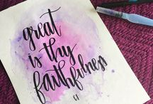 Caligraphy and watercolour