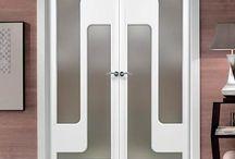 "Sanrafael Lacada Glass Fire Double Doors / The beautiful prefinished San Rafael Lacada 914V Door with ""D"" groove designs. #directdoors #puertassanrafael"