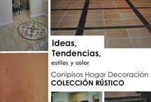 Decoracion rustica / Decoración de interiores y exteriores con baldosas y losetas rusticas. Colores terracota para decoraciones de antaño.