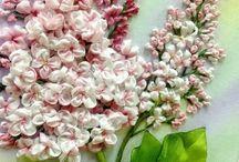 υφασματινα λουλουδια σε κεντημα