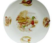 Hunting tableware / Small game hunting ceramic tableware.  Suitable for dishwasher and microwave. Matching glassware available at www.almoraima.com