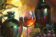 Wine and Grapes Art