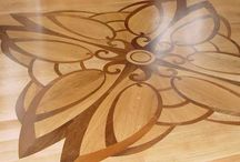 """Floor Marquetry / All types of non symmetrical geometric or """"'picture"""" type flooring. Painting with wood."""