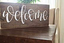 Chalkboard and Wooden Signs