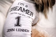 "FAYRI - ""I'm a Dreamer"" John Lennon Graphic Tee for Dogs / Taken from the favorite quote from John Lennon - It has turned into sporty cute! The material is dreamy soft and very light weight with texture interest, perfect for everyday easy wear."