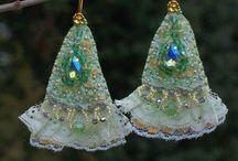 EARRINGS - vintage, boho style earrings, textile earrings, shabby chic earrings, fiber earrings / Earrings and RINGS