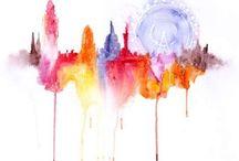 watercolor, acrylic, ink