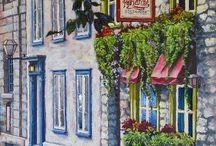 shops and cafe.s art