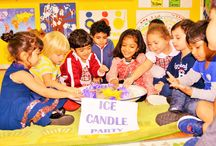 Ice Candle Party / Ice candles are so strange and interesting. It's a fun way to introduce children to the concept of 'hot and cold'. What a wonderful experience to learn about the process of melting solid ice to liquid.
