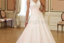Princess Wedding Dresses /  A-line Taffeta Sweetheart Bodice Back V-Necklines Chapel Length Train Wedding Dresses  / by eweddingdress