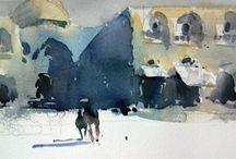 Akvarel: Marc Folly / Marc Folly est né en 1965 à GRENOBLE (38). Formé à l'école des Arts Appliqués de Lyon (France). Artiste- peintre inscrit au registre professionnel de la Maison des Artistes. Installé à Lyon sur les pentes de la Croix-Rousse depuis 1992.
