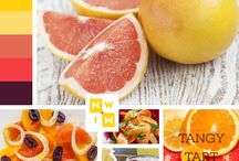 spring + citrus / More daylight, brighter colors. Yellows picked from lemons, pinks from grapefruits, and orange from oranges, this sweet-tart color palette is inspired from citrus fruits. Freshen up a recipe with citrus juices and zest by adding to sauces, soups, salads and even enhance drinks!
