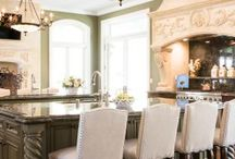 Bel Air, CA Kitchen Remodel / This beautiful, Neo-classical kitchen remodel is an entertainers dream kitchen with large double islands, butler's pantry, bar and  spacious laundry room.