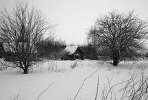 B&W / Russian North is the severity of nature, grey colors, gloominess, huts black from time and climate, windblown, brutal, dismal meager patterns, asymmetry.