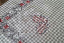 bordados em tecidos xadrez