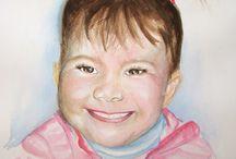 Watercolor portraits of children