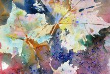 Watercolor Leaf paintings