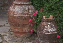 Warm glass terra cotta pots