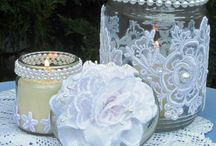 jars covered with lace and pearls