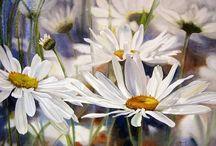 Vesiväreillä kukkia