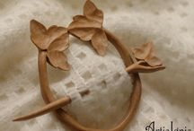 Shawl Pins / Hair Slides by ArtisIgnis / Handcarved wood shawl pins that can also be used as hair slides.