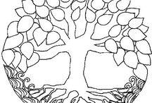 Fák üvegfestés