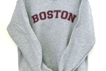 Boston Sweats and Tops / So many people love the City of Boston whether they're from there or not! Our comfy sweatshirts and sweatpants by Gildan with hand silk-screened Boston logo are a great way to show it.