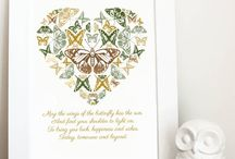 Typographical print art / Butterflies, typography, quotes